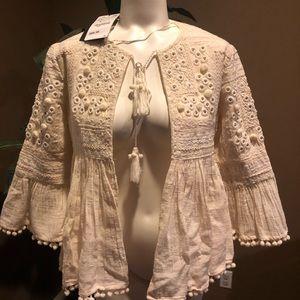 Xs Zara Ecru bogo embroidered jacket nwt